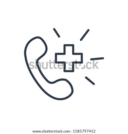 Ambulance call icon. Isolated telephone and ambulance call icon line style. Premium quality symbol drawing concept for your logo web mobile app UI design.