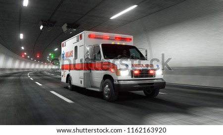 Ambulance car rides through tunnel 3d rendering