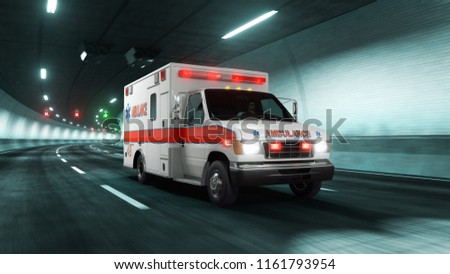 Ambulance car rides through tunnel with Gray Cyan light style 3d rendering