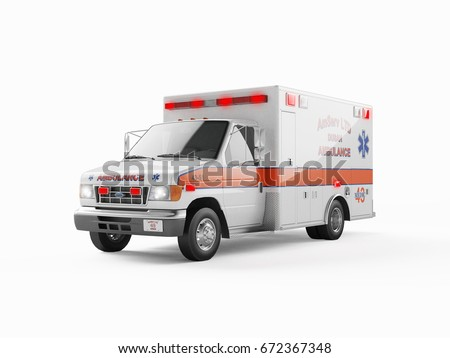 Ambulance emergency on a white background. 3D rendering