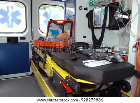 Ambulance gurney inside the car