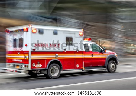 ambulance on emergency car in motion blur Photo stock ©