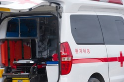 Ambulance on standby, The Korean letters in the picture are 'Patient transfer'.