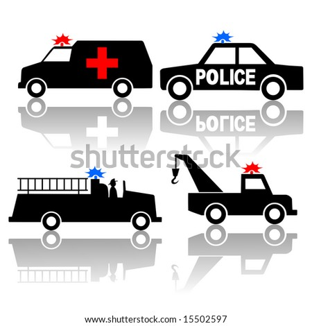 Ambulance police car fire truck and tow truck silhouettes - stock photo