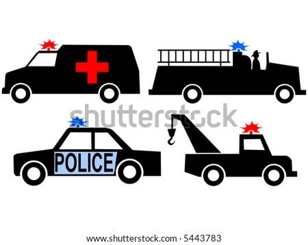 Ambulance police car fire truck and tow truck silhouettes JPG