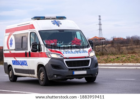 Ambulance. Special medical vehicles. Ambulance van on road. Ambulance service van on street. Photo stock ©