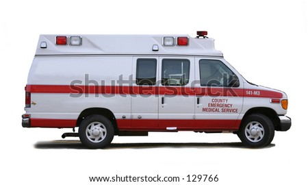 Ambulance with white background and side for use with advertising.