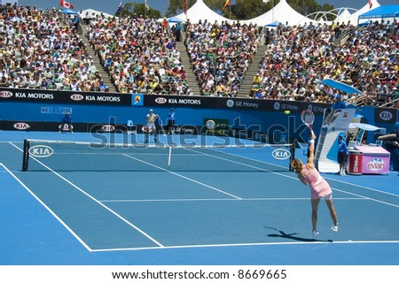 Amelie Mauresmo serving to Yaroslava Shvedova at the 2008 Australian Open