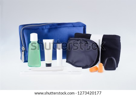 Amenity kits on long-haul international flights. Business Class Essential travel kit #1273420177