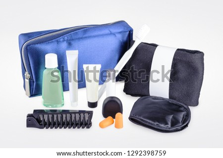 Amenity kits on long-haul international flights. Business Class Essential travel kit #1292398759