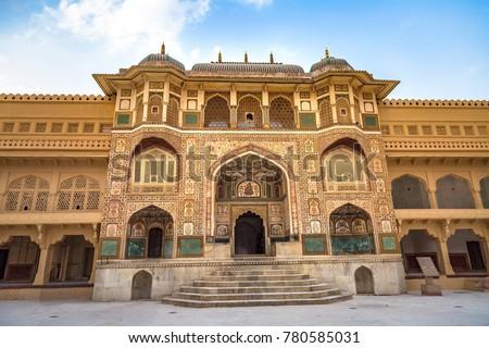 Amer Fort Jaipur Rajasthan main entrance with intricate artwork.