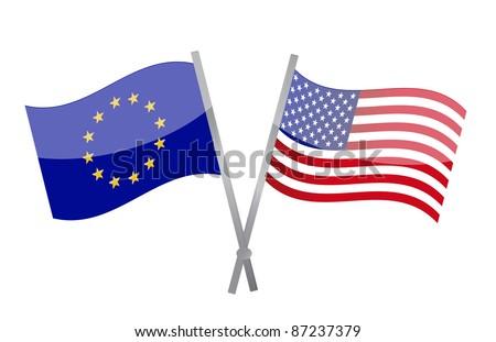 America and Europe alliance illustration design