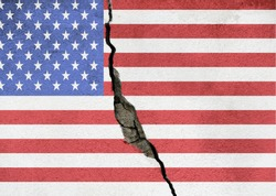 America divided concept, american flag on cracked background. US elections, polarization and division between republicans and democrats, rich and poor, educated and non educated people