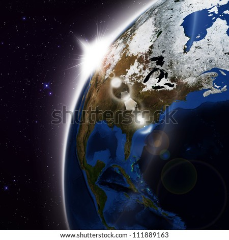 America. Elements of this image furnished by NASA