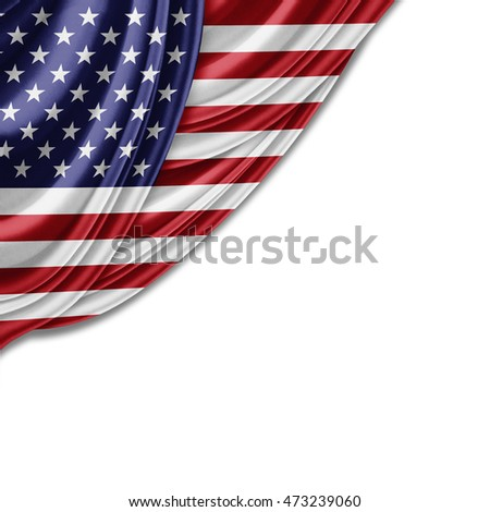 America flag of silk with copyspace for your text or images and white background-3D illustration #473239060