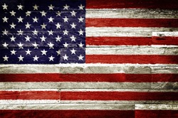 america flag painted on old wood background