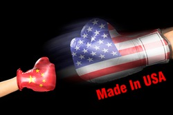 America, made in USA with American boxing glove and Communism China glove.