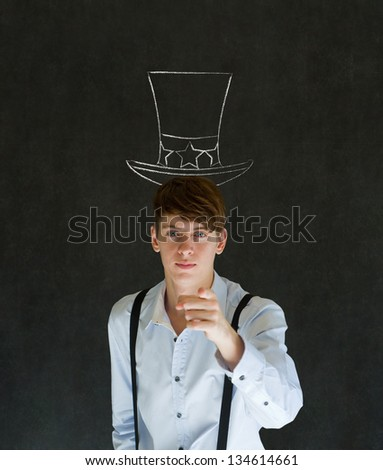 America needs you business man, student, teacher or politician on blackboard background with uncle sam hat