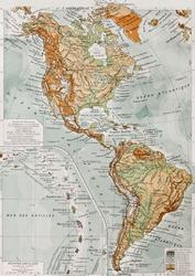 America physical map with Lesser Antilles insert map. By Paul Vidal de Lablache, Atlas Classique, Librerie Colin, Paris, 1894 (first edition)