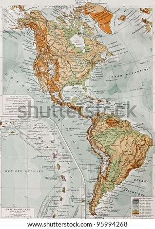 America physical map with Lesser Antilles insert map. By Paul Vidal de Lablache, Atlas Classique, Librerie Colin, Paris, 1894 (first edition) #95994268