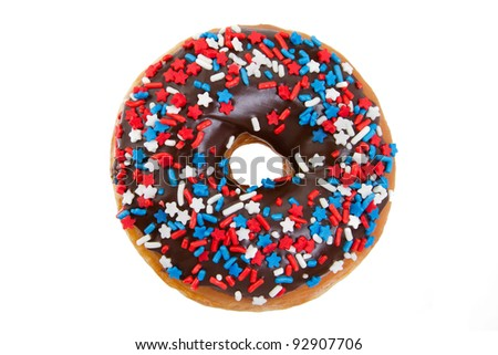 America Themed Donut with Red, White, and Blue Stars and Sprinkles Isolated on a White Background