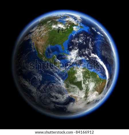 America under clouds. Earth space model.  Elements of this image furnished by NASA.