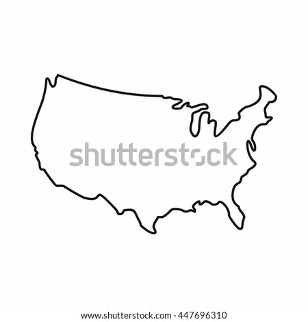 America USA map icon. Outline illustration of America USA map sign isolated on white background
