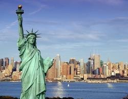 america usa new york cityscape tourism concept photograph. new york city statue of liberty skyline. new york statue of liberty over hudson river. Manhattan  new york