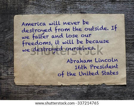 america will never be destroyed ...