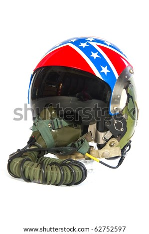American aircraft helmet with flag symbols isolated over white