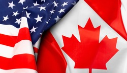 American and Canadian flags together. Top view.