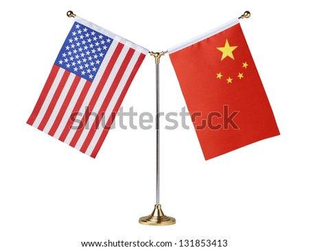 American and China table flag isolated on white