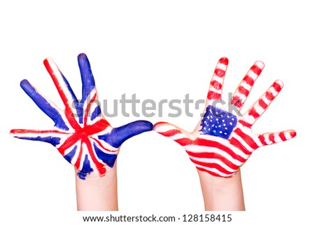 American and English flags on hands. Learning English language concept.