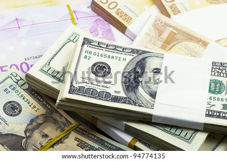 American and European monetary denominations