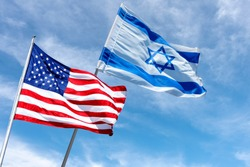American and Israeli flags in Jerusalem, Israel