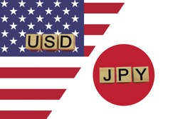 American and Japanese currencies codes on national flags background. USD and JPY currencies