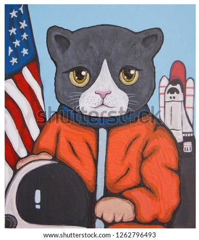 American Astronaut Cat portrait illustration acrylic color painting on canvas