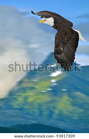 american bald eagle in flight superimposed over alaskan mountains
