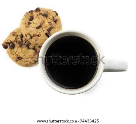 american black coffee with cookie isolated on white