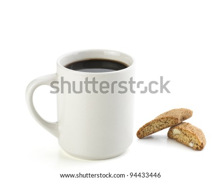 american black coffee with italian cookie isolated on white