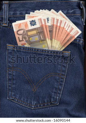 American blue jeans pocket filled with Euro banknotes money