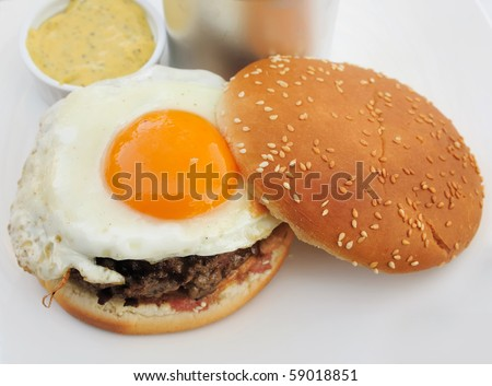 American burger with egg