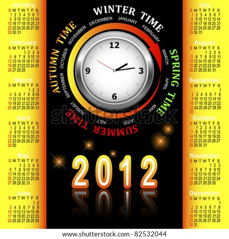 American calendar 2012 with clock and four seasons of the year.