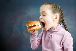 American calories fat meal Junk food, Little Girl enjoy eating hamburgers fast food burger unhealthy