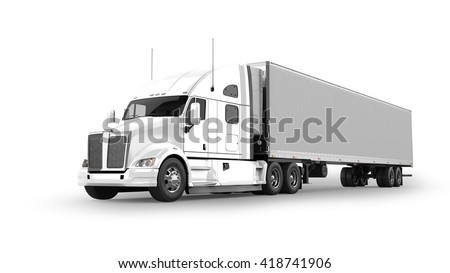 American Cargo Truck Isolated on White #418741906