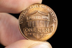 American cent close up photo. Macro coins.