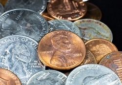 American cents close up photo. Macro coins.