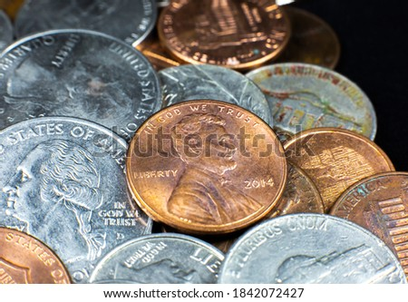 American cents close up photo. Macro coins. Stock photo ©