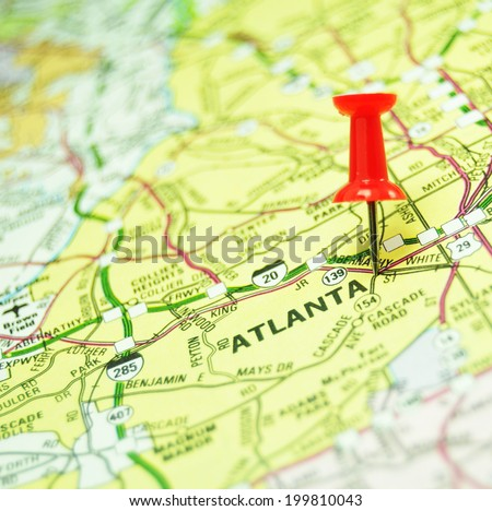American cities: Atlanta marked with red pin on US map