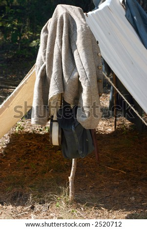 American Civil War Reenactment campsite with Confederate jacket and tent